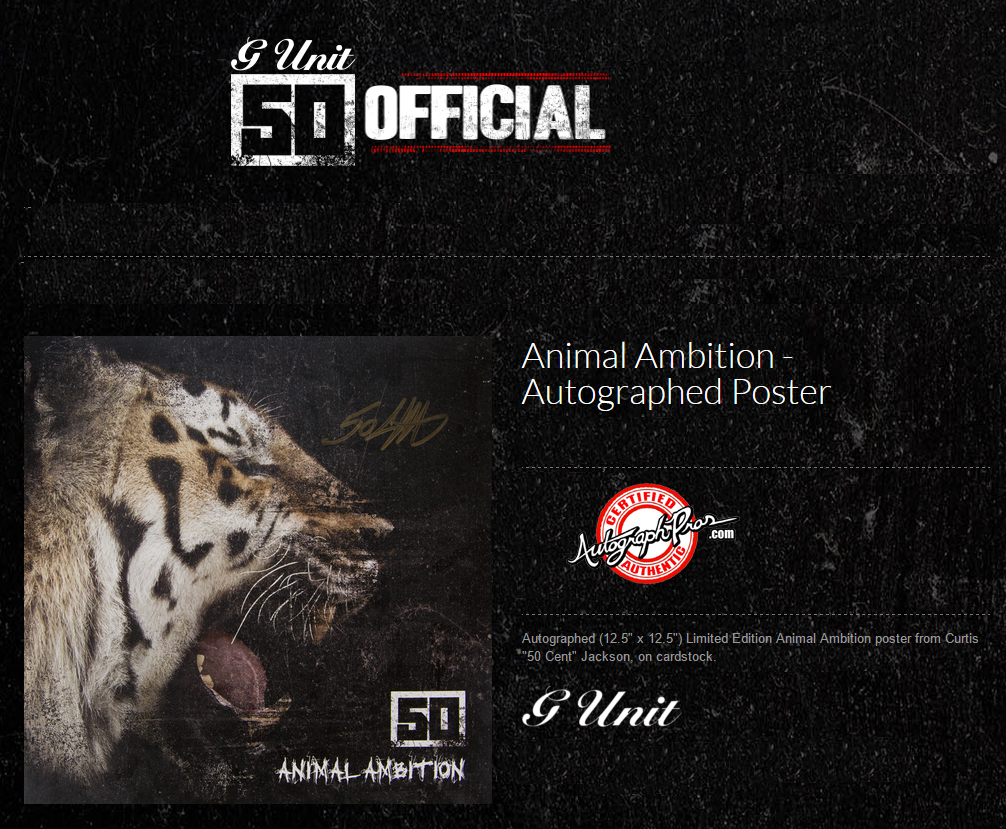 50 Cent G-Unit Autographed Signed Animal Ambition Album Flat Poster Video Proof