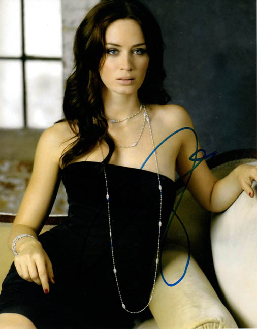 Emily Blunt Autographed Signed Black Dress Photo UACC RD COA