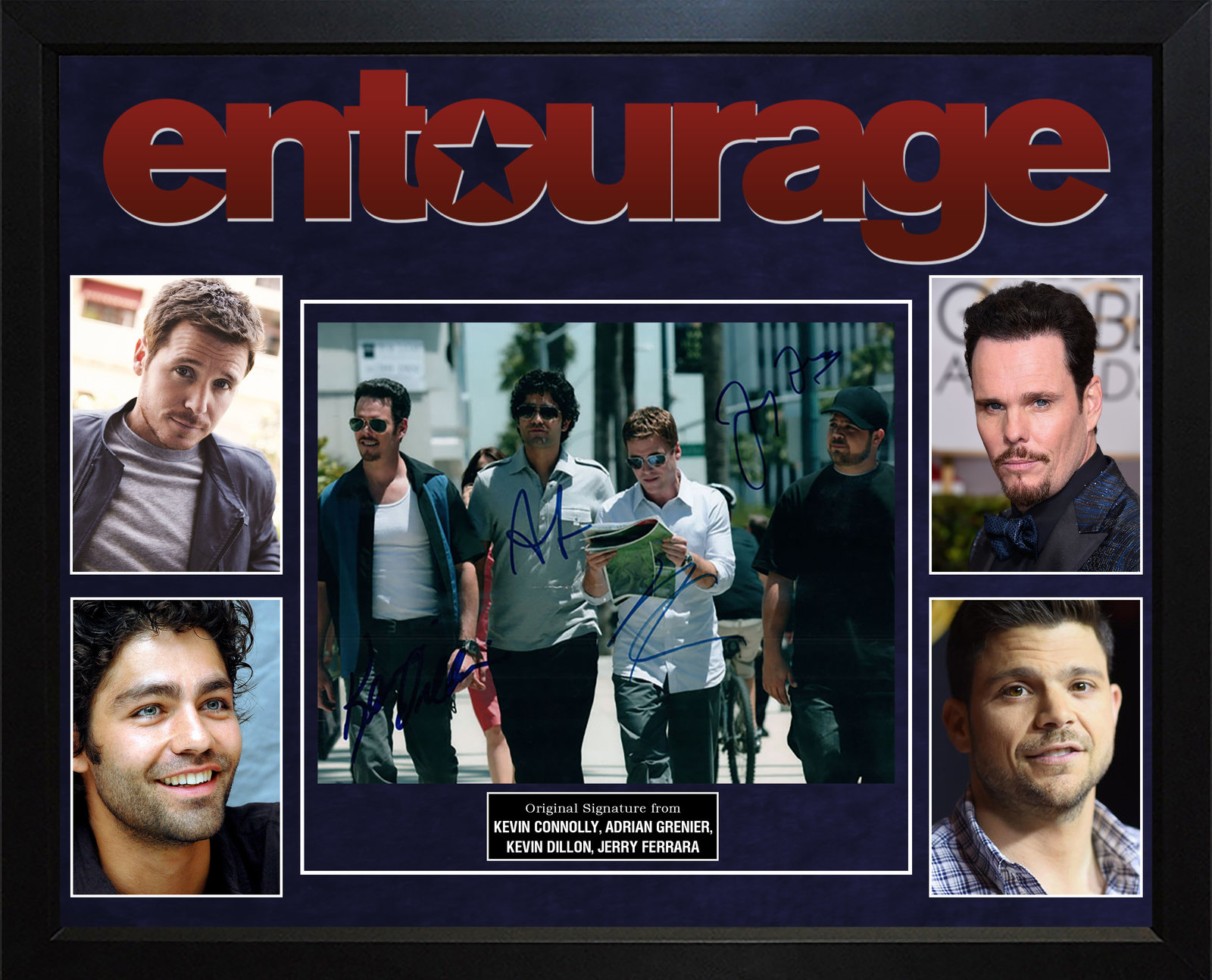 Entourage Cast Autographed Photo In Custom Framed Display AFTAL UACC RD RACC TS