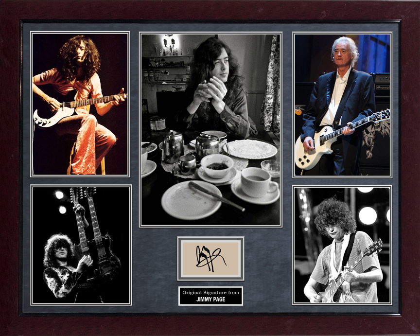 Jimmy Page Led Zeppelin Autographed Paper Cut Photo Display AFTAL UACC RD COA