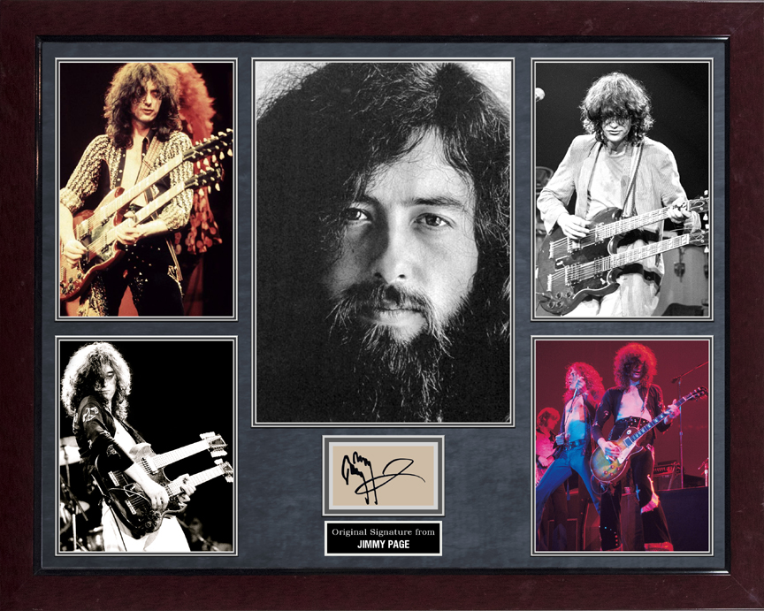 Jimmy Page Led Zeppelin Signed Paper Cut Photo Display AFTAL UACC RD COA