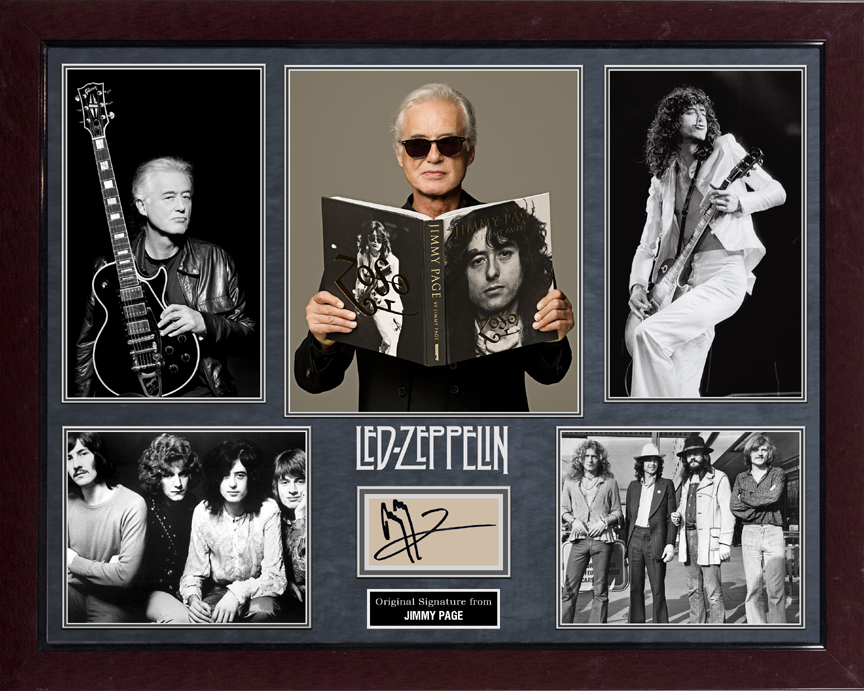 Jimmy Page Led Zeppelin Signed Autographed Photo Display AFTAL UACC RD