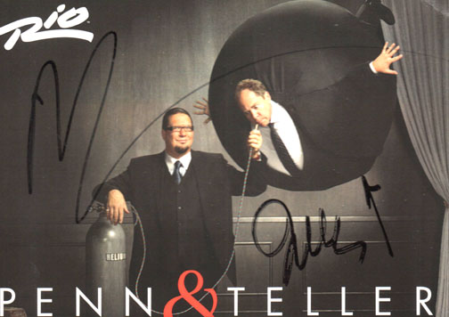Penn & Teller Autographed Signed Rio Promo Card