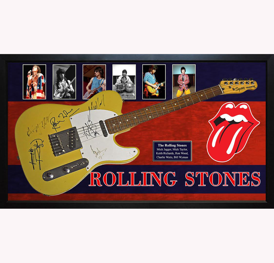 Rolling Stones X6 Autographed Fender Guitar Custom Shadowbox Display Case