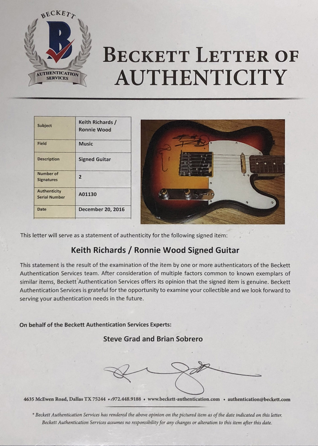 The Rolling Stones Mick Jagger Keith Richards Ron Wood Signed Guitar Beckett BAS