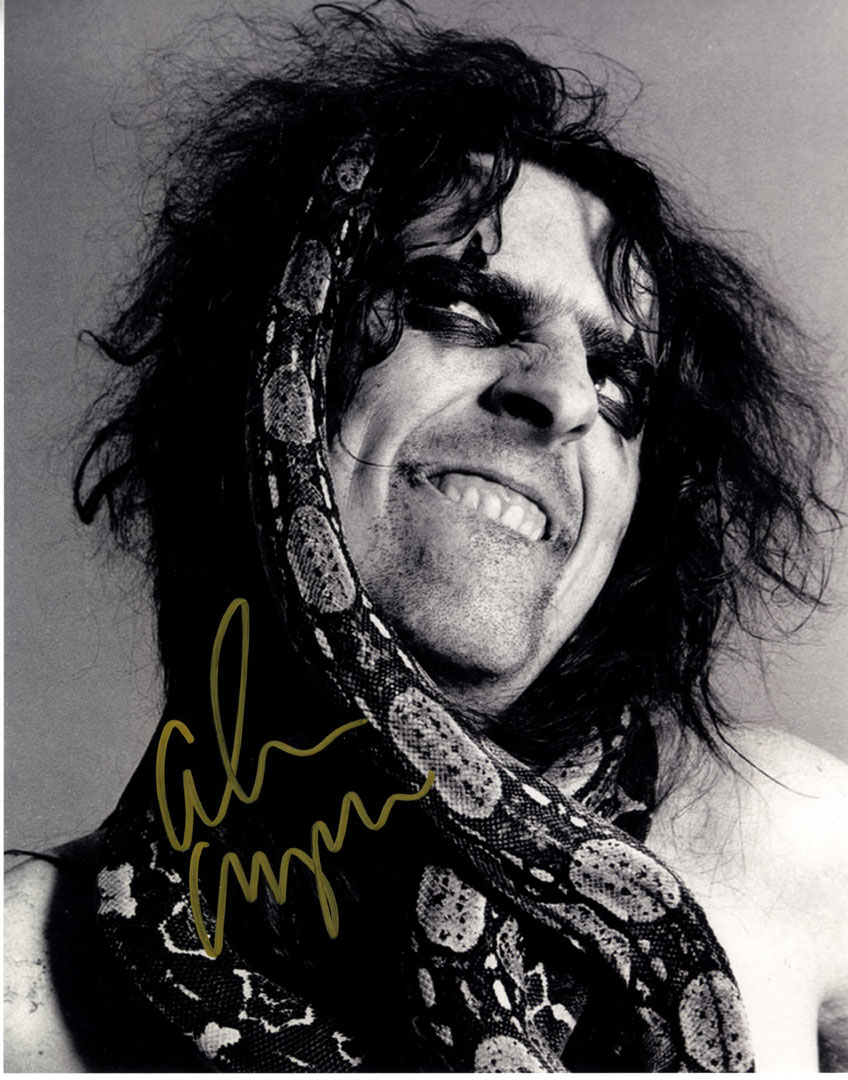 Alice Cooper Autographed Signed B/W Snake 11x14 Photo UACC RD COA AFTAL