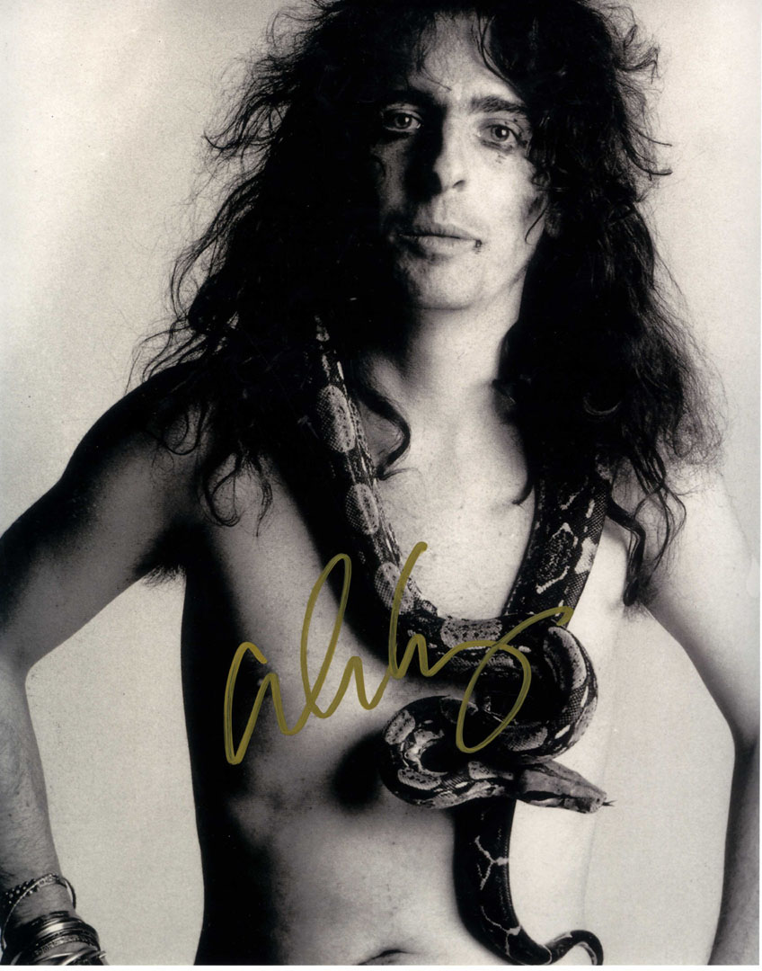 Alice Cooper Autographed Signed B/W Neck Snake 11x14 Photo UACC RD COA AFTAL