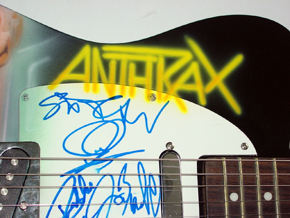 Anthrax Autographed Signed Cool Airbrush Guitar & Proof PSA/DNA