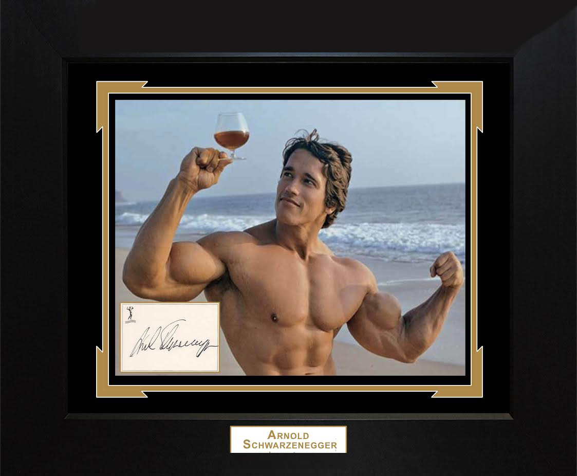 Arnold Schwarzenegger Autographed Muscle Beach Wine Photo Custom Display AFTAL