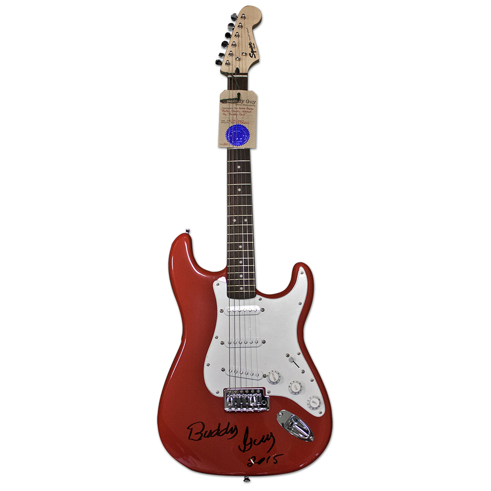 Buddy Guy Autographed Signed Red Fender Guitar w His Hologram AFTAL UACC RD COA