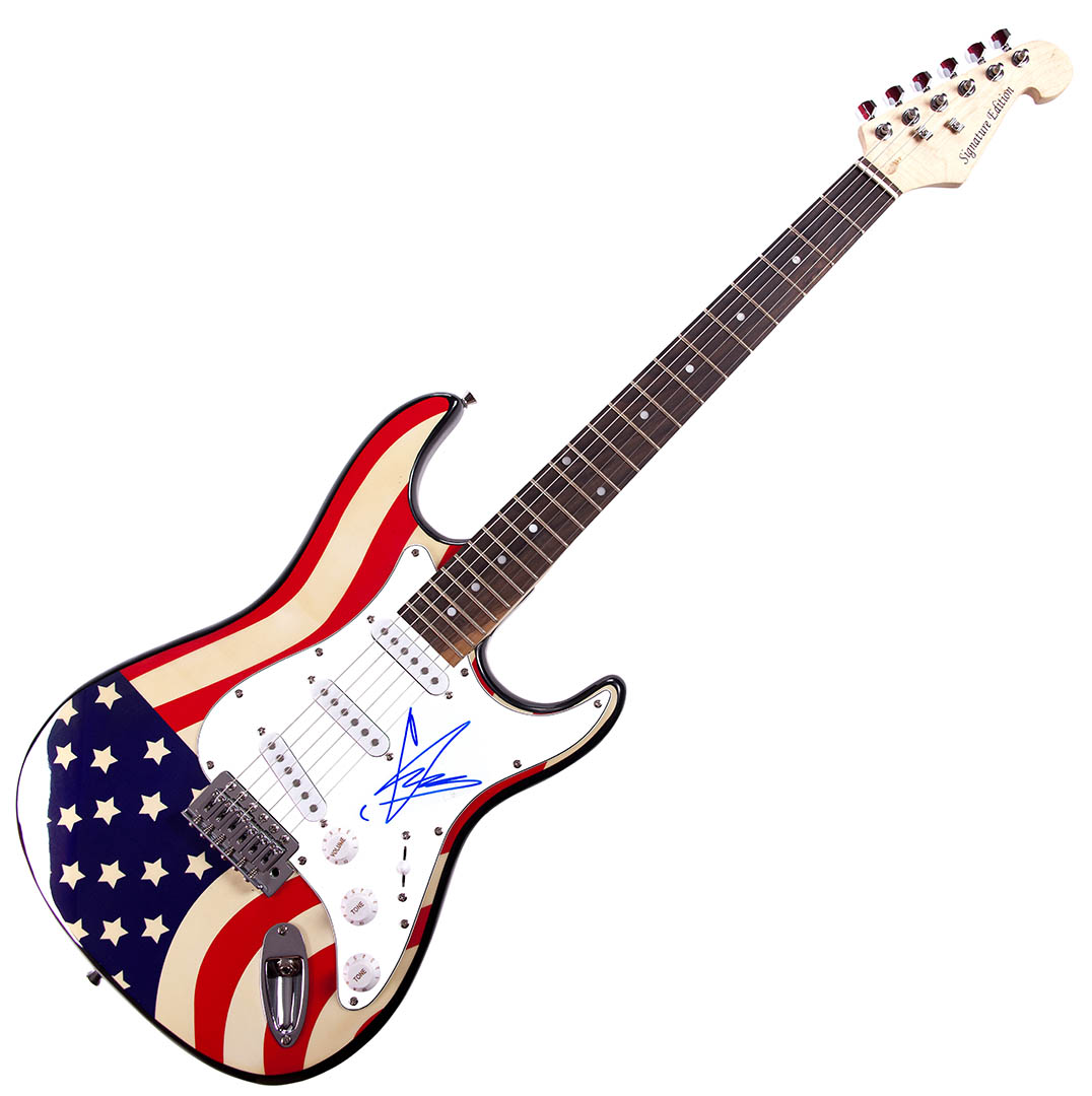 Chris Cornell Audioslave Autographed Signed USA Flag Guitar AFTAL UACC RD COA