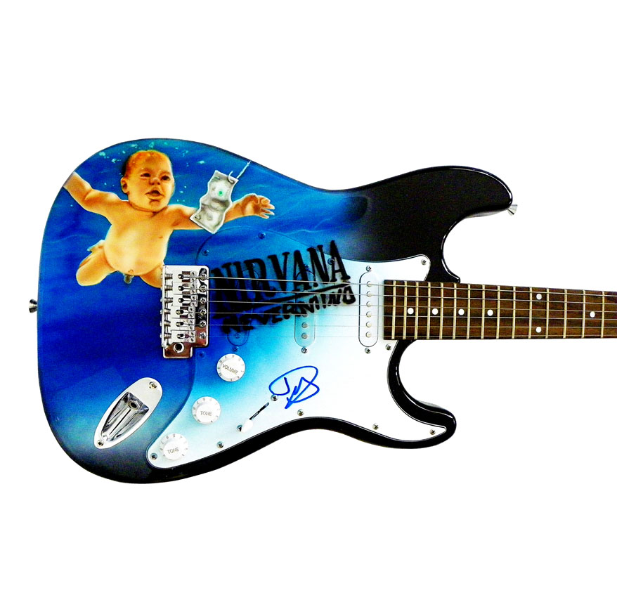 Dave Grohl David Autographed Signed Nirvana Nevermind Airbrush Guitar & Proof