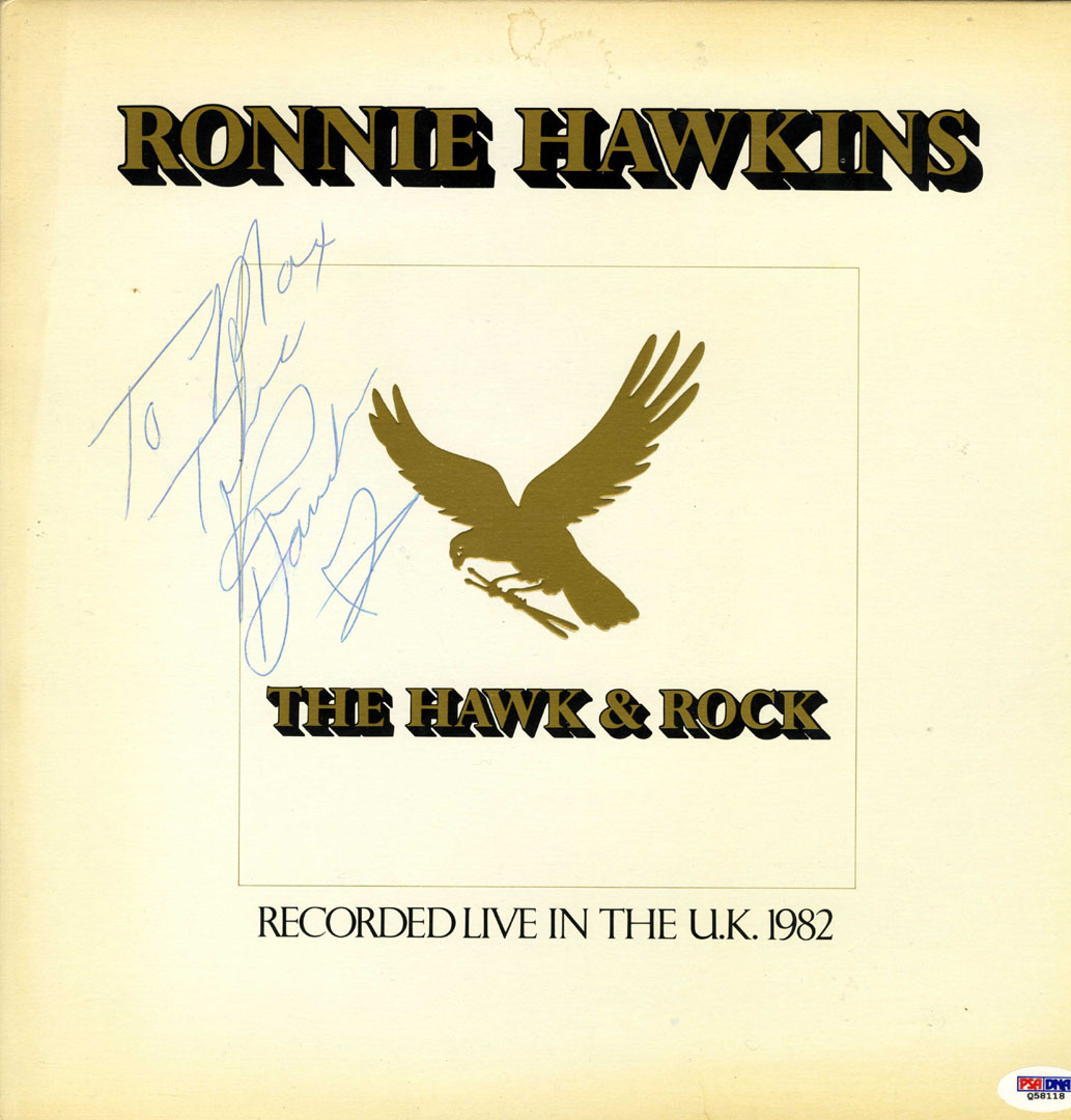 Ronnie Hawkins Signed Hawk N Rock Album Cover RACC TS AFTAL UACC PSA DNA