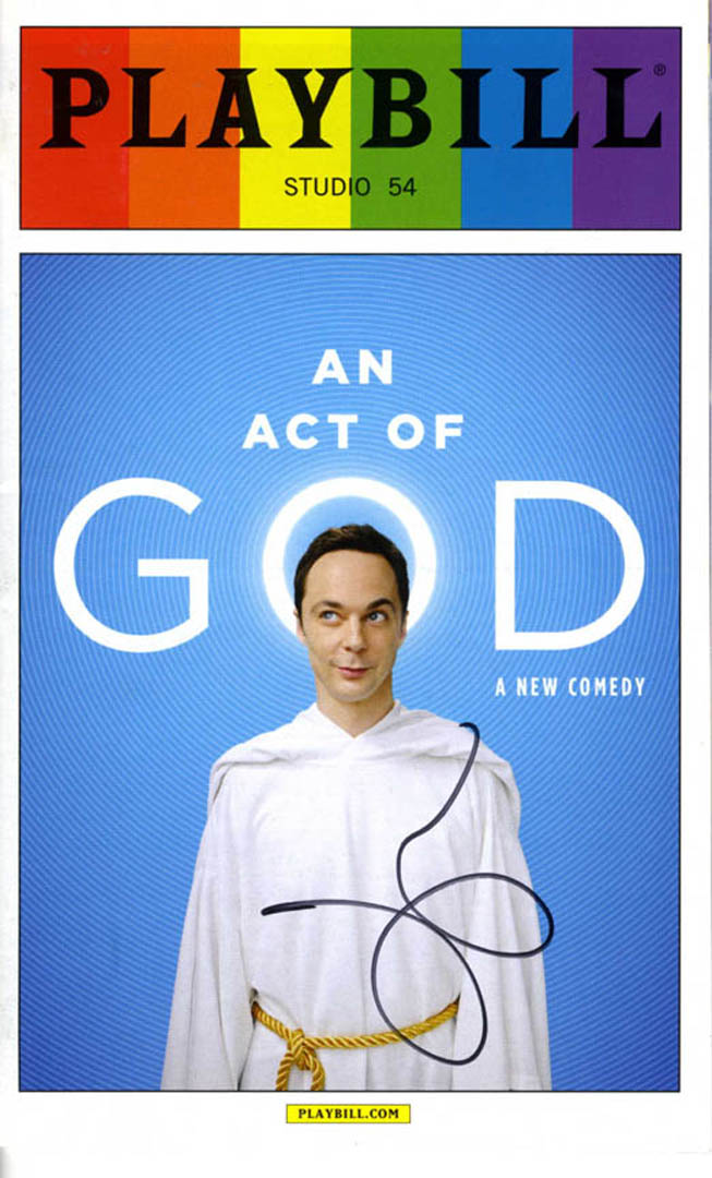 Jim Parsons Autographed Signed An Act Of God Playbill UACC RD AFTAL COA