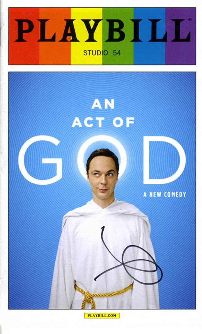 Jim Parsons Autographed Signed Act Of God Playbill UACC RD AFTAL COA