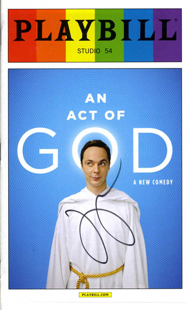 Jim Parsons Autographed An Act Of God Playbill UACC RD AFTAL COA