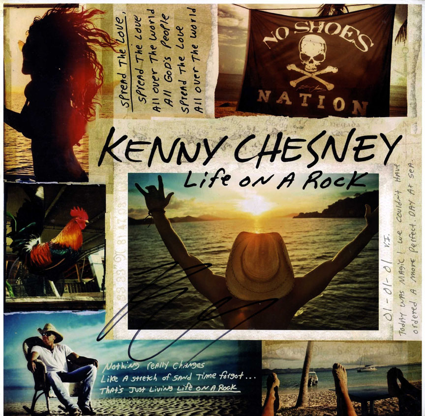Kenny Chesney Autographed Signed Life On A Rock Album Lp AFTAL UACC RD COA