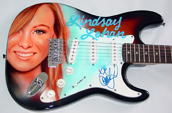 Lindsay Lohan Autographed Airbrush Guitar & Proof PSA/DNA