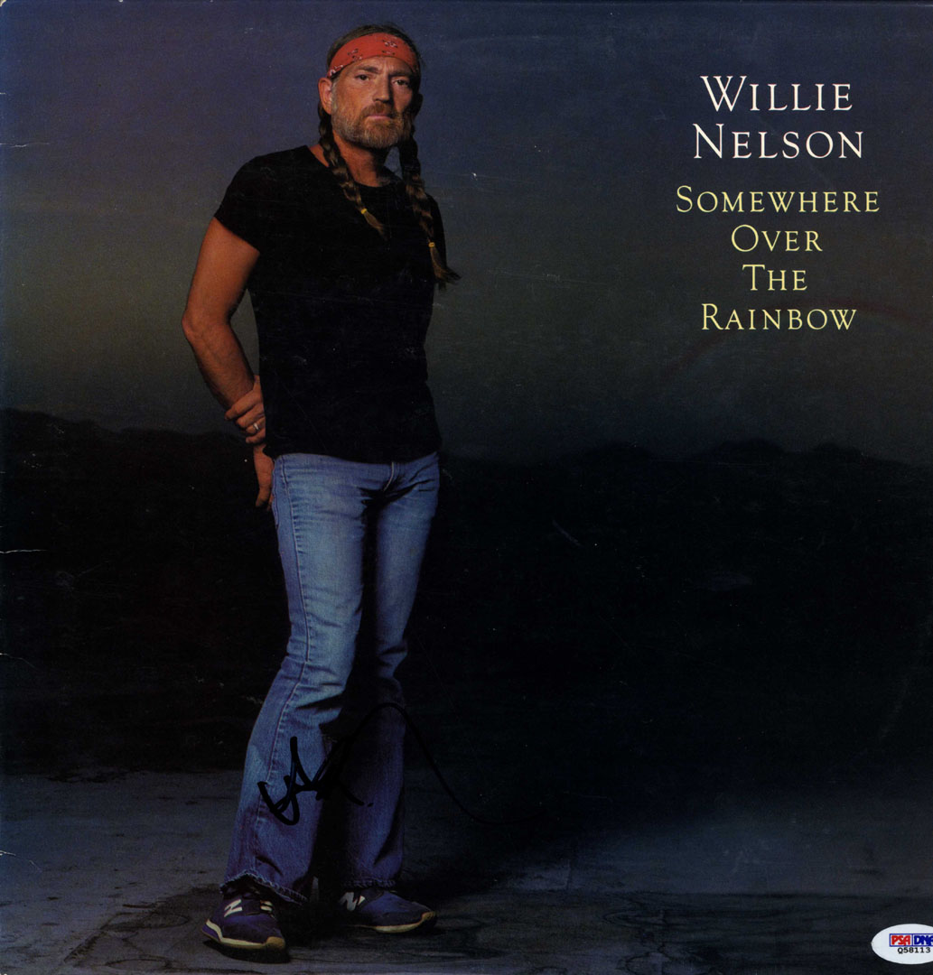 Willie Nelson Signed Over The Rainbow Album Cover RACC TS AFTAL UACC PSA DNA