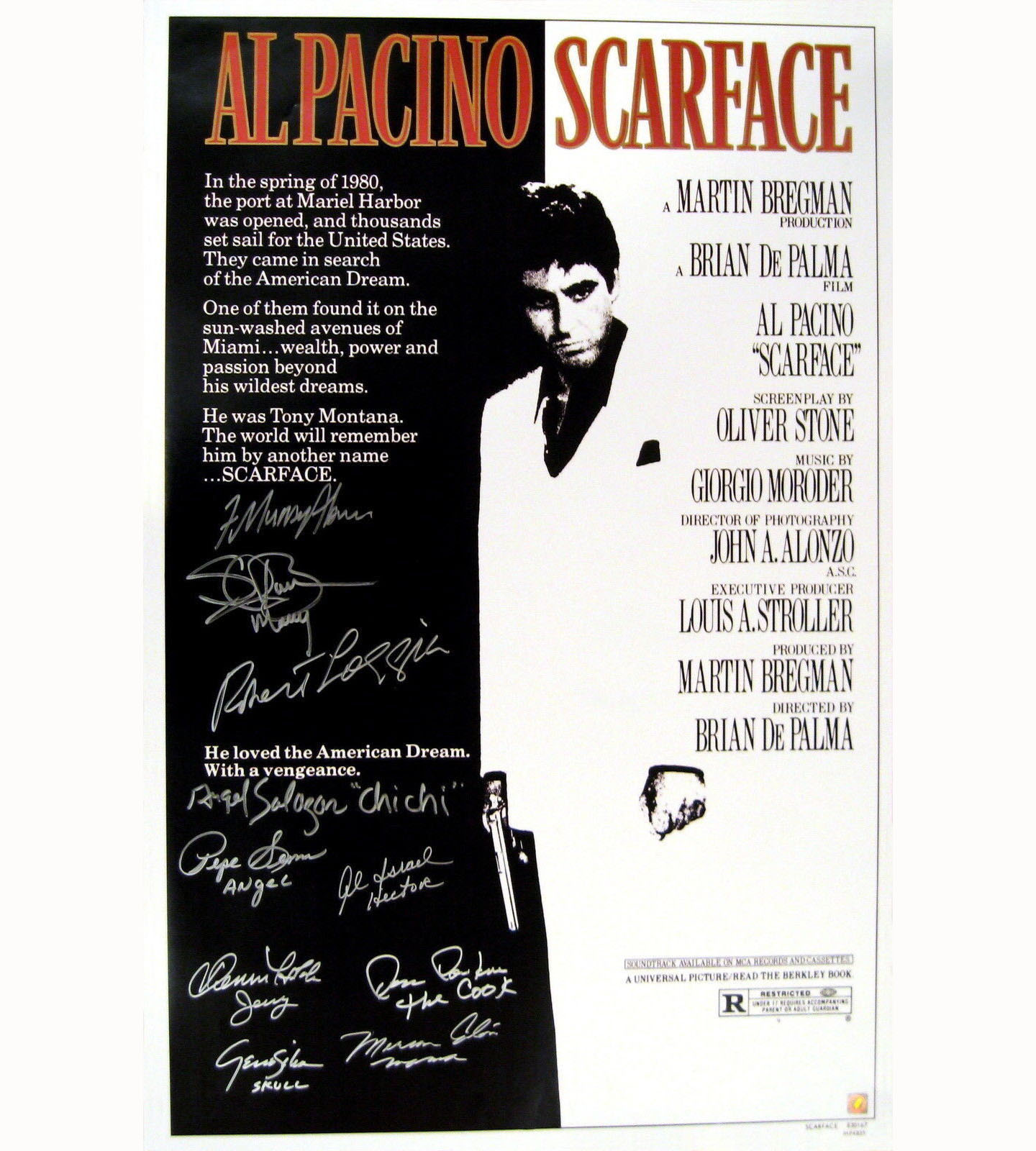 SCARFACE Cast Autographed Signed Hollywood Movie Poster ASI Photo Proof AFTAL