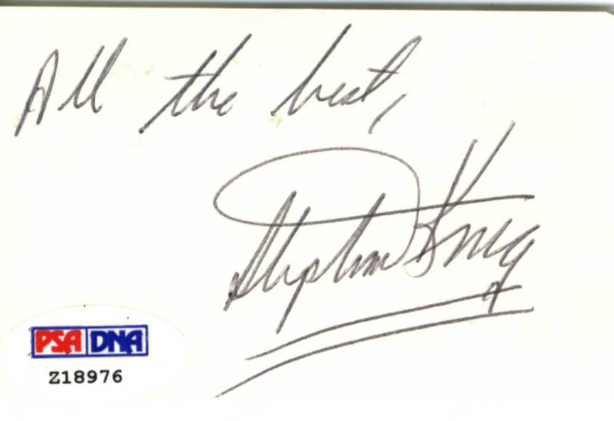 Stephen King Autographed Signed Small Cut UACC RD AFTAL COA PSA