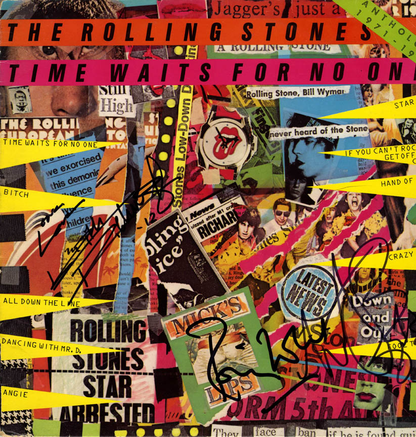 Rolling Stones x3 Autographed Signed Time Album Lp Cover