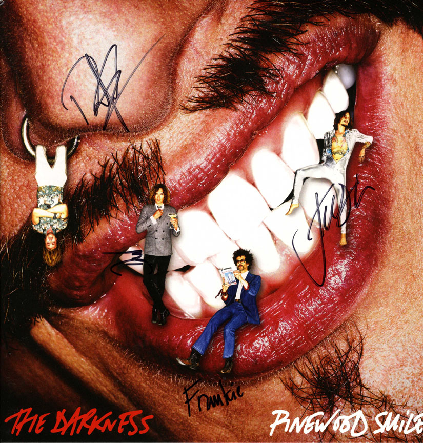 The Darkness Autographed Pinewood Smile Album Cover UACC RD AFTAL TS