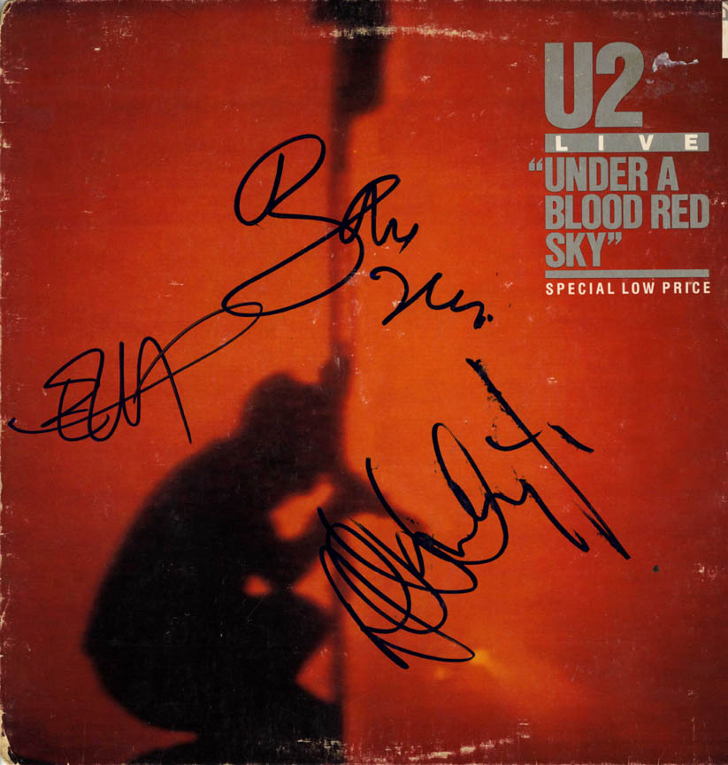 U2 Autographed Signed Under A Blood Red Sky Album Cover
