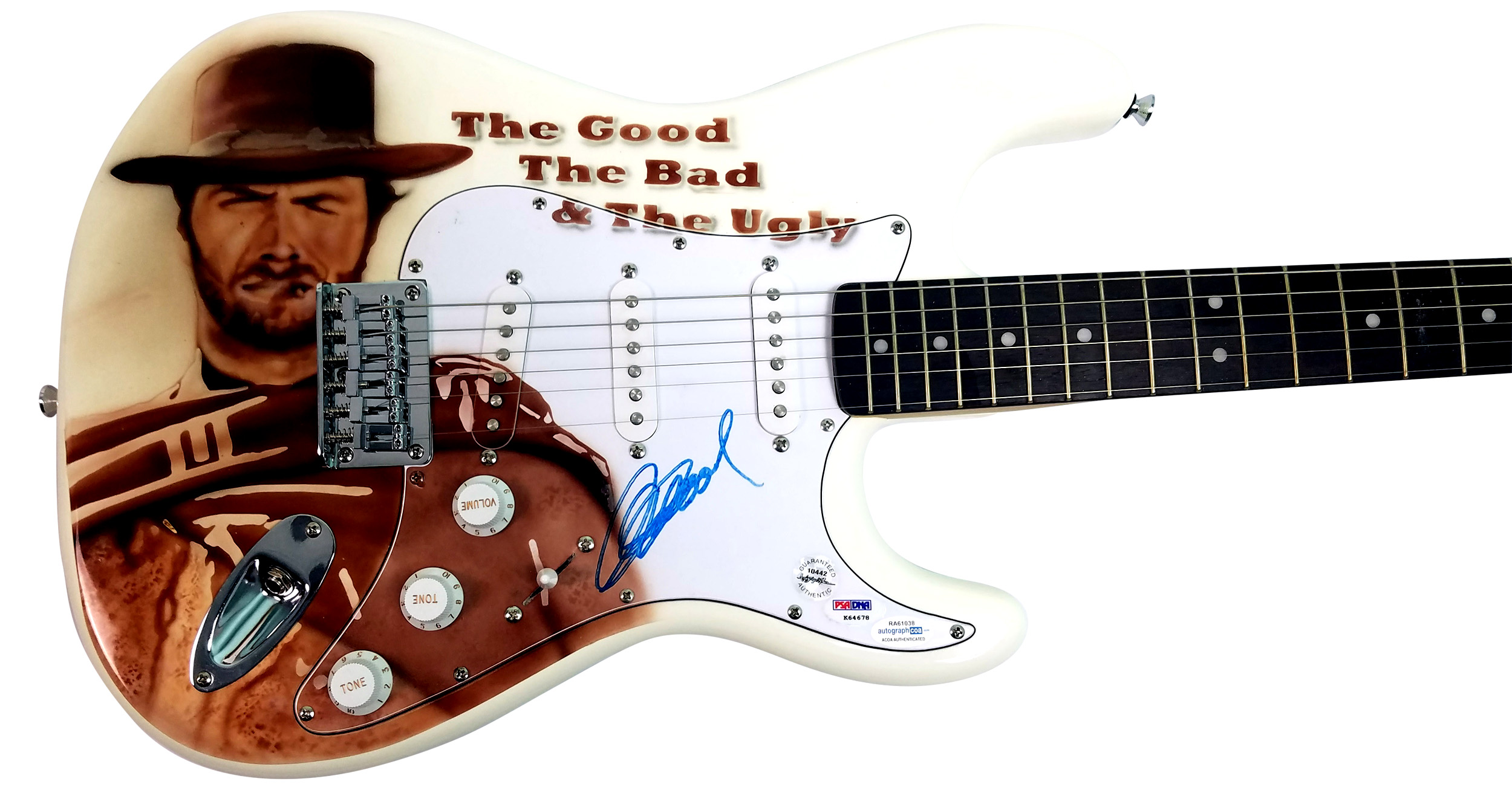 Clint Eastwood Autographed Good Bad Ugly Movie Poster Guitar ACOA PSA